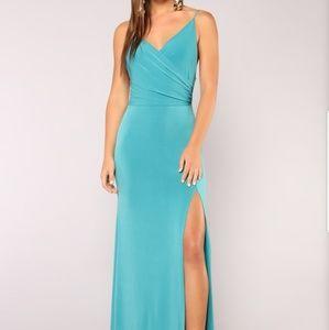 Fashion nova long aqua colored dress